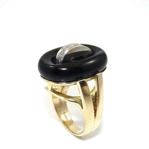 14K Yellow Gold Ring Size 6 Black Onyx Diamond Modernist Statement