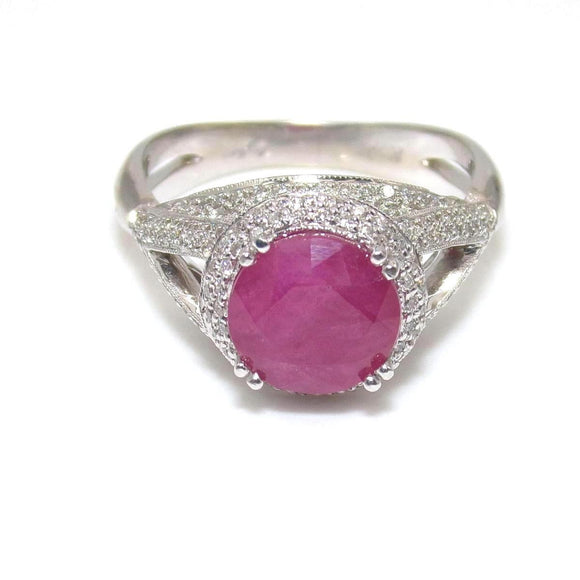 14K White Gold 2.00 ct Natural Pink Ruby 1/2 ct Diamond Accent Halo Ring 7.5, CMDSHINE