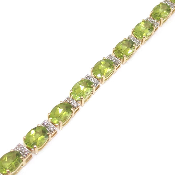 14K Yellow Gold 15 ct Green Peridot 1/10 ct Diamond Accent Tennis Bracelet, CMDSHINE