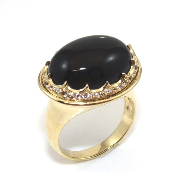 14K Yellow Gold Black Onyx White Topaz Dome Halo Cocktail Ring Size 10, CMDSHINE