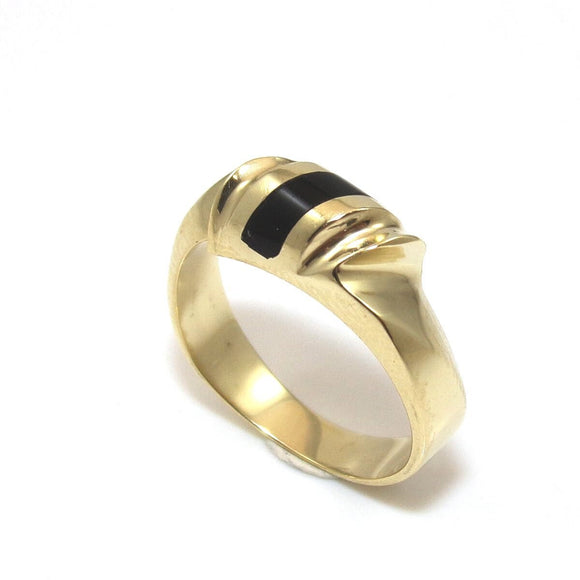 14K Yellow Gold Black Onyx Ring Size 5.5, CMDSHINE