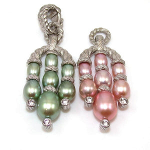 Judith Ripka Sterling Silver Clear CZ Pink Green Pearl Enhancer Pendant Lot, CMDSHINE