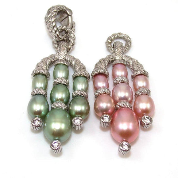 Judith Ripka Sterling Silver Clear CZ Pink Green Pearl Enhancer Pendant Lot