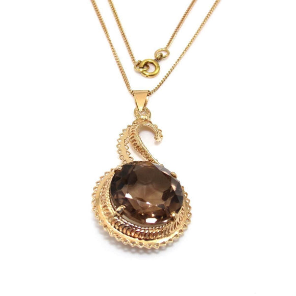 14K Yellow Gold Smoky Quartz Pendant Chain Link Necklace 18