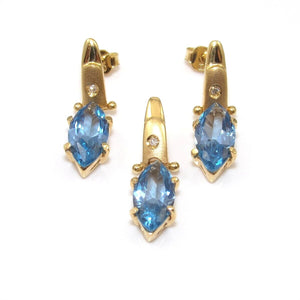 18K Yellow Gold Blue Topaz Diamond Accent Pendant Earring Set Lot, CMDSHINE