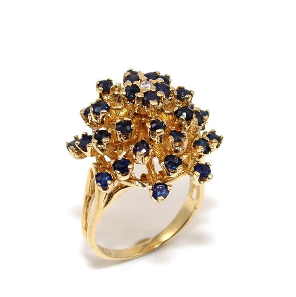 14K Yellow Gold Natural Blue Sapphire Diamond Dome Cluster Ring 6, CMDSHINE