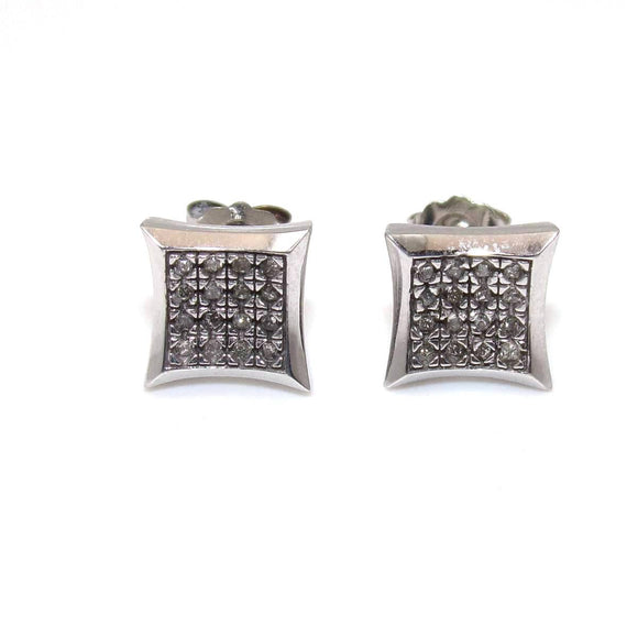 10K White Gold 1/12 ct Natural Diamond Stud Earrings, CMDSHINE