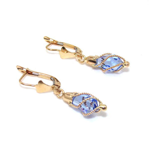 18K Yellow Gold Blue Purple Tanzanite Glass Bead Dangle Earrings, CMDSHINE