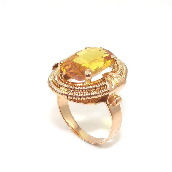 18K Yellow Gold Orange Citrine Halo Cocktail Ring Size 6, CMDSHINE