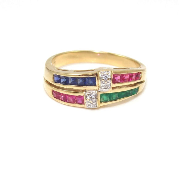 18K Yellow Gold Emerald Ruby Sapphire Diamond Accent Band Ring Size 7.5, CMDSHINE