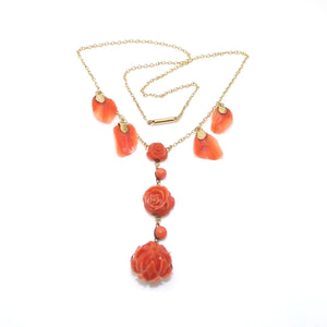"Vintage Antique 14K Yellow Gold Carved Orange Coral Flower Necklace 15"", CMDSHINE"