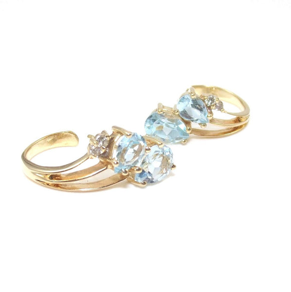 14K Yellow Gold Blue Topaz Diamond Spray Earrings, CMDSHINE