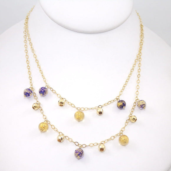14K Yellow Gold Glass Foil Bead Ball Double Strand Chain Necklace 17