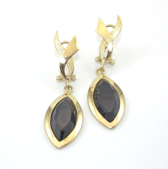 Vintage 10K Yellow Gold Hematite Dangle French Clip Earrings, CMDSHINE