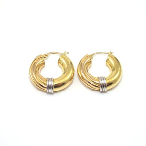 18K Yellow White Gold Spiral Plain Hoop Earrings, CMDSHINE