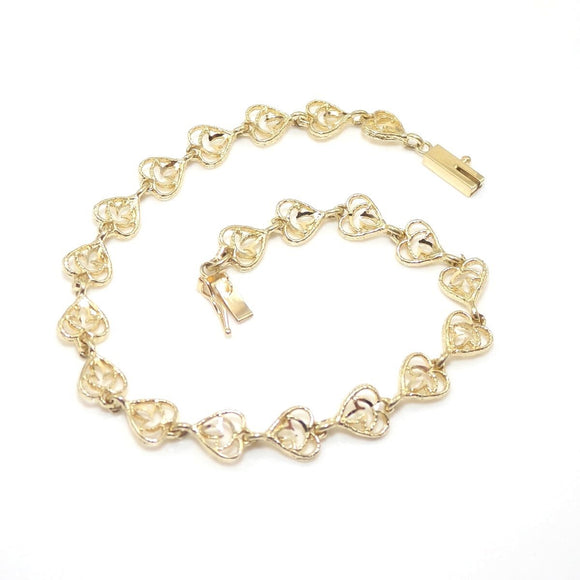14K Yellow Gold Heart Chain Link Bracelet, CMDSHINE