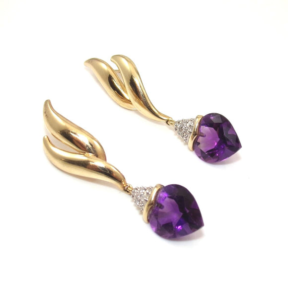 14K Yellow Gold Purple Amethyst Diamond Heart Dangle Earrings, CMDSHINE
