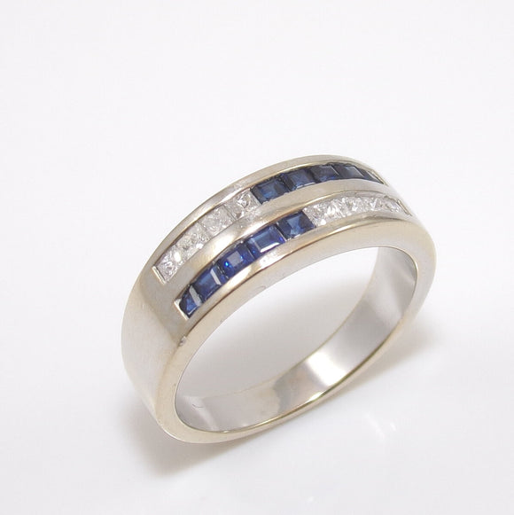 18K White Gold Natural Blue Sapphire Diamond Band Ring Size 7.25, CMDSHINE