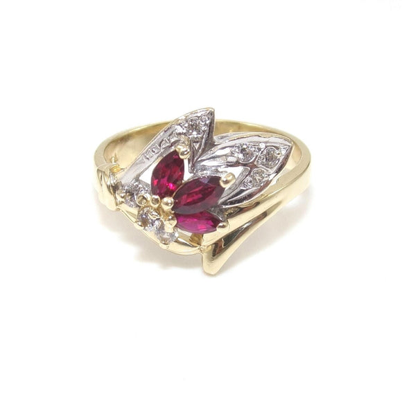 14K Yellow White Gold Pink Ruby Clear CZ Ring Size 7, CMDSHINE