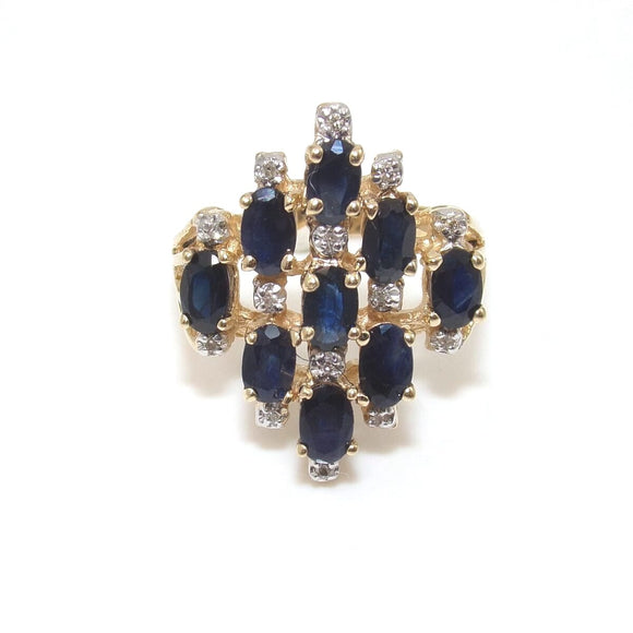 14K Yellow Gold Natural Sapphire Diamond Cluster Ring Size 7.25, CMDSHINE