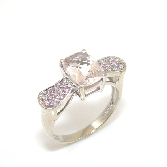 10K White Gold Clear Quartz Pink Diamond Ring Size 8, CMDSHINE