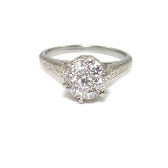 VTG 18K White Gold 1/3 ct Natural Diamond Cluster Solitaire Engagement Ring 6, CMDSHINE