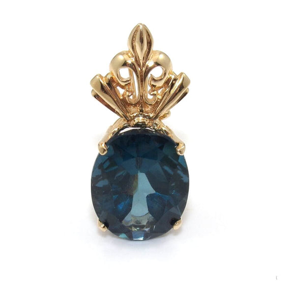 14K Yellow Gold Large London Blue Topaz Enhancer Pendant, CMDSHINE