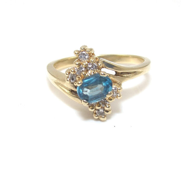 14K Yellow Gold Ring Natural Diamond Blue Topaz Size 6.25, CMDSHINE