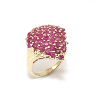 10K Yellow Gold Ring Natural Ruby Cluster Size 7.5, CMDSHINE