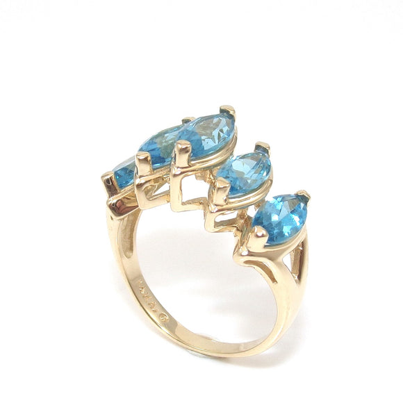 Alwand Vahan 14K Yellow Gold Ring 2.50 ct Blue Topaz Raised Size 7.5, CMDSHINE