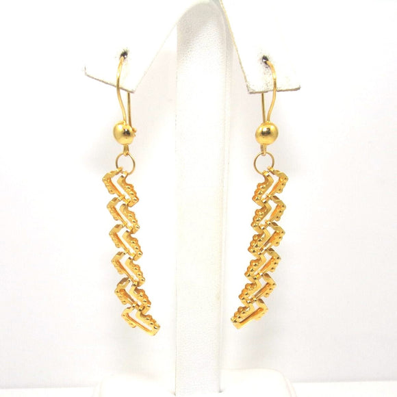 18K Yellow Gold Bead Ball Zig Zag Dangle Earrings, CMDSHINE