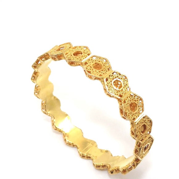 Vintage 21K Yellow Gold Filigree Bangle Bracelet, CMDSHINE