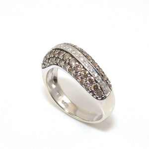 LeVian 14K Vanilla White Gold Ring Size 7 1.00 ct Chocolate Diamond Wavy Band, CMDSHINE