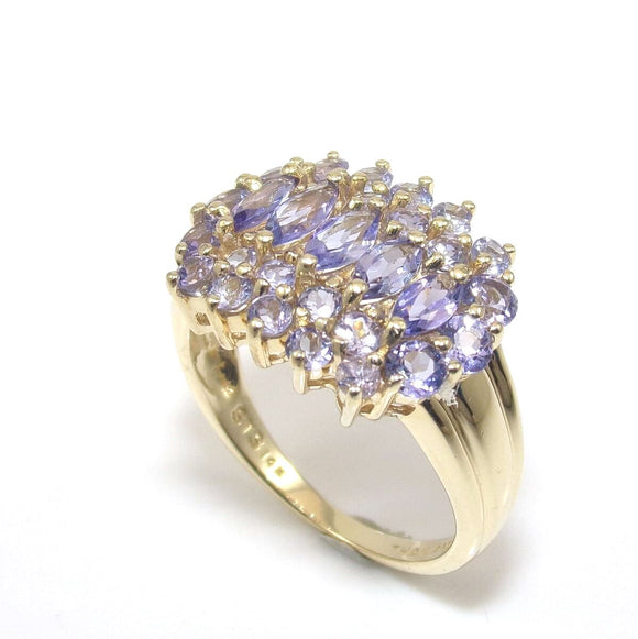 14K Yellow Gold Ring Size 6.5 Purple Tanzanite Cluster 1.50 ct, CMDSHINE
