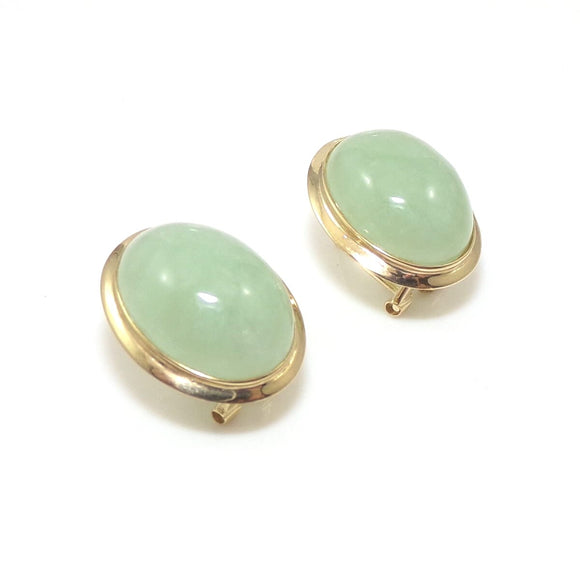 14K Yellow Gold Earrings Green Jade Oval Dome Omega French Clip, CMDSHINE