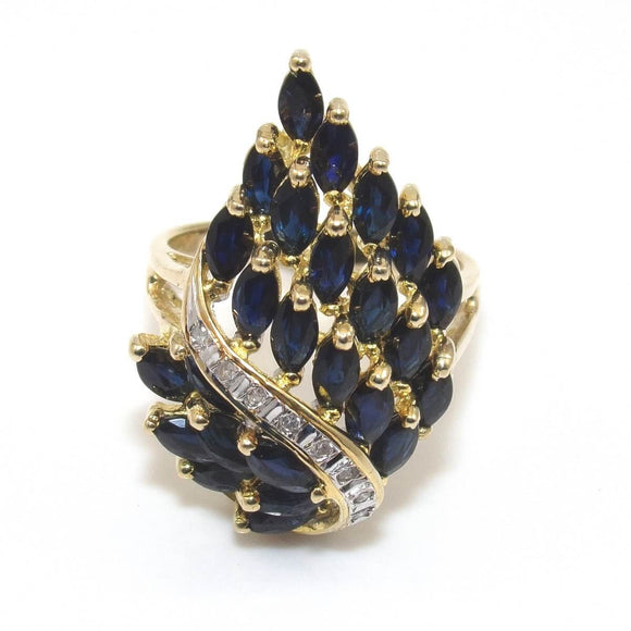 14K Yellow Gold Ring Size 8 Natural Sapphire Diamond Waterfall Cluster, CMDSHINE