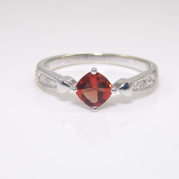 14K White Gold Orange Red CZ Diamond Accent Heart Ring Size 7.5 STP, CMDSHINE