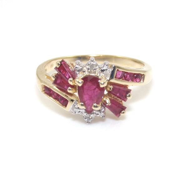 14K Yellow Gold Ring Size 7.25 Natural Pink Ruby Diamond Accent STP, CMDSHINE