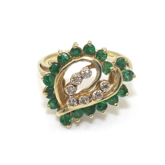 14K Yellow Gold Ring Size 7 Natural Emerald Diamond Heart, CMDSHINE
