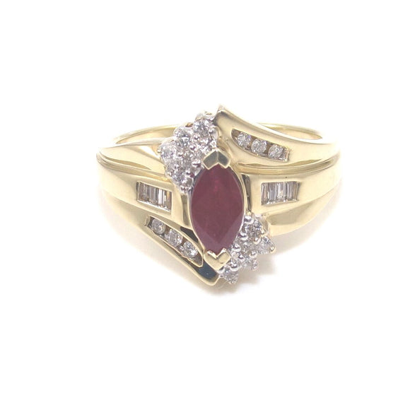 Keepsake 14K Yellow Gold Ring Size 7.5 Natural Pink Ruby Diamond 3/4 ctw