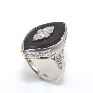 Vintage Antique 18K White Gold Ring Size 3.75 Black Onyx Diamond, CMDSHINE