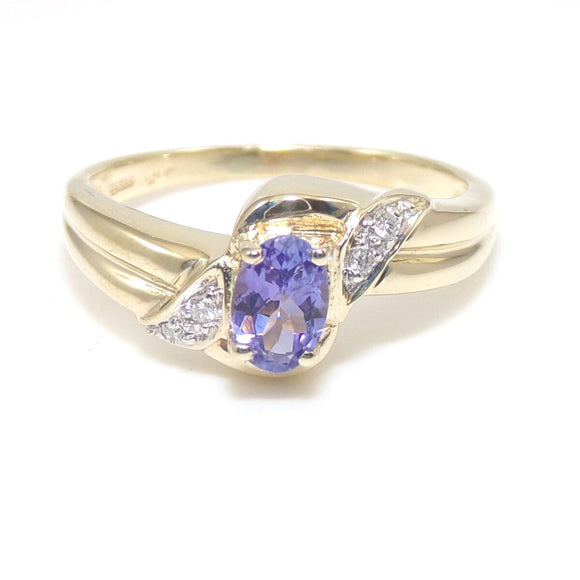 14K Yellow Gold Ring Size 8.25 Purple Tanzanite Diamond, CMDSHINE