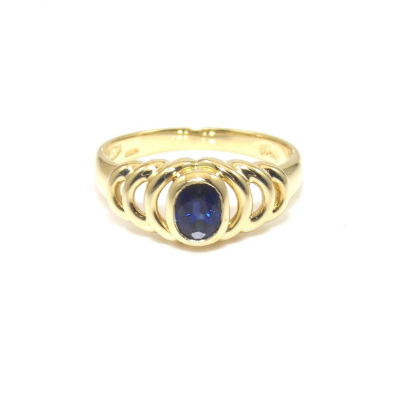Damiani Italy 18K Yellow Gold Natural Sapphire Ring Size 6.5, CMDSHINE