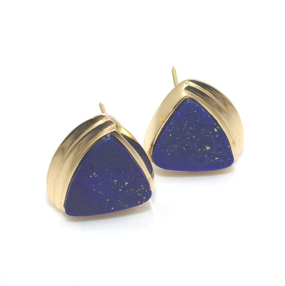 18K Yellow Gold Earrings Blue Lapis Lazuli French Clip, CMDSHINE