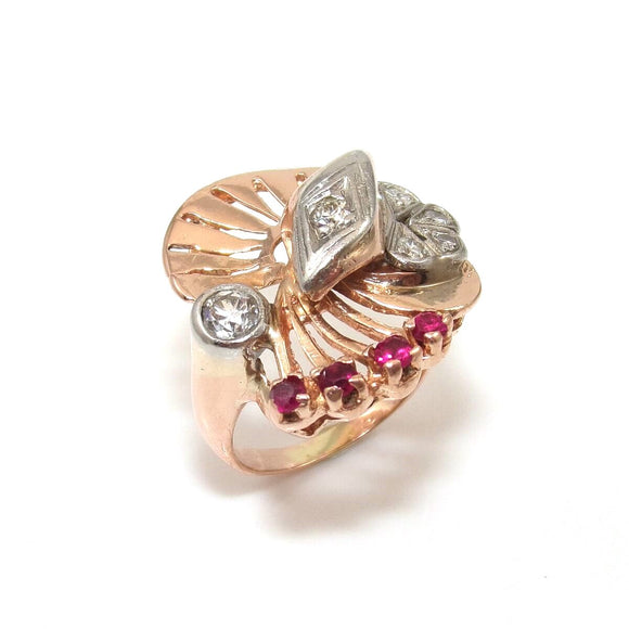 14K Rose Gold Ring Size 6.25 Natural Diamond Pink Ruby 2/3 ctw, CMDSHINE