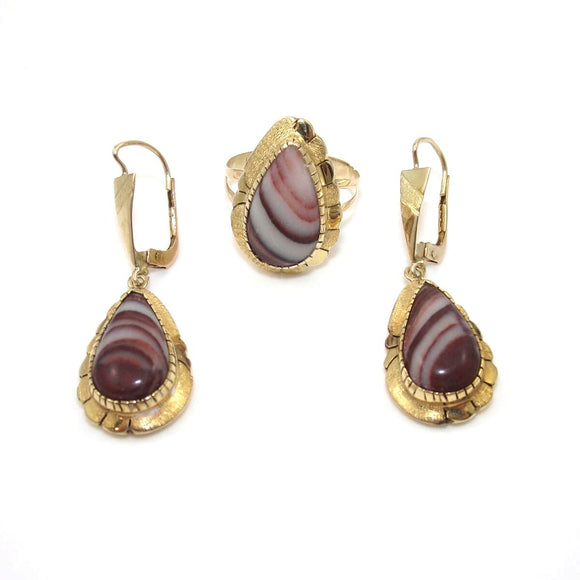 Vintage 14K Yellow Gold River Rock Jasper Earring Ring Set Size 6.75, CMDSHINE