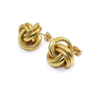 14K Yellow Gold Earrings Love Knot Weave Woven, CMDSHINE