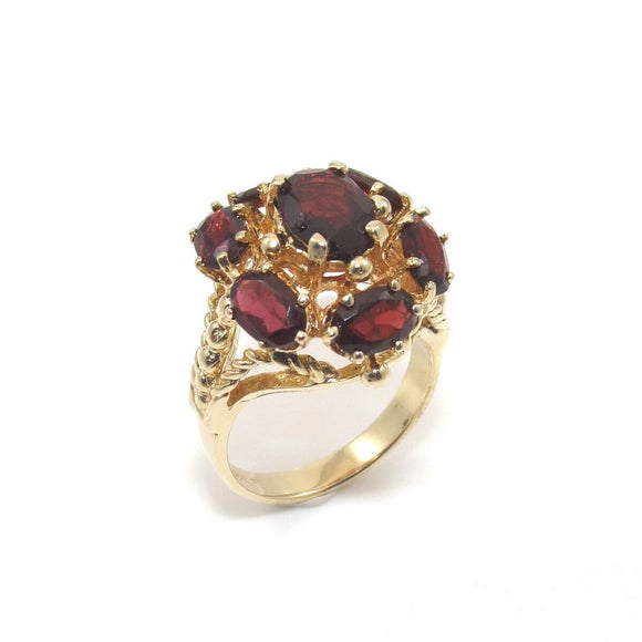 14K Yellow Gold Ring Size 6 Red Garnet Dome Halo, CMDSHINE