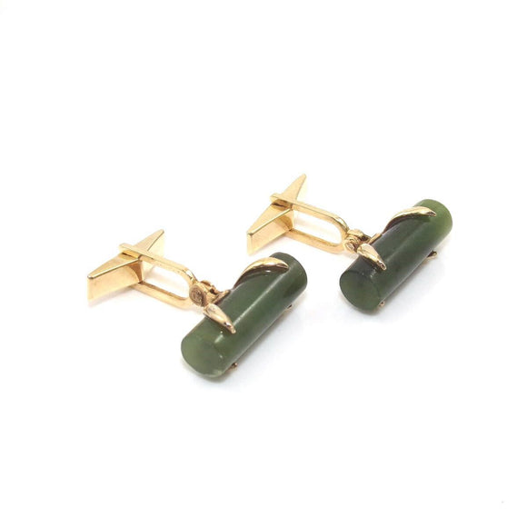 Vintage 14K Yellow Gold Green Jade Men's Cufflinks, CMDSHINE