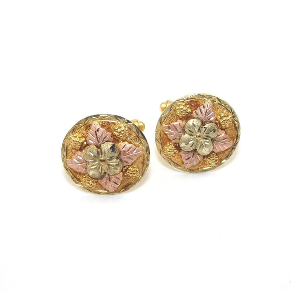 10K Rose Gold Yellow Gold Black Hills Cufflinks, CMDSHINE